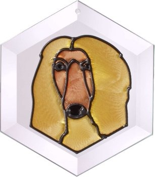 Silver Creek Art Glass EW281 Afghan Hound Hex Suncatcher