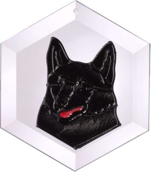 Artistic Gifts Art Glass EW287 Schipperke Hex Suncatcher Glass Made in the USA $18.99