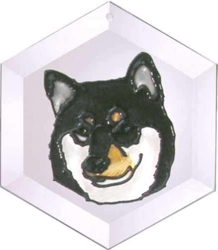 Artistic Gifts Art Glass EW291 Shiba Inu Hex Suncatcher