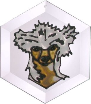 Artistic Gifts Art Glass EW293 Chinese Crested Hex Suncatcher