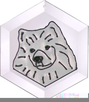 Artistic Gifts Art Glass EW294 American Eskimo Hex Suncatcher Glass Made in the USA $18.99