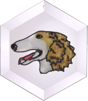 Artistic Gifts Art Glass EW296 Borzoi Hex Suncatcher Glass Made in the USA $18.99