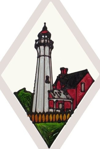 Artistic Gifts Art Glass F021 MI Port Sanilac Beveled Suncatcher