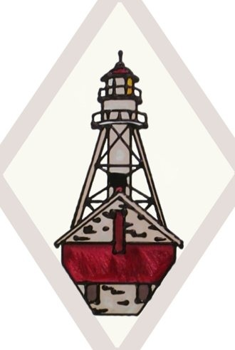 Artistic Gifts Art Glass F036 MI Whitefish Point Beveled Suncatcher