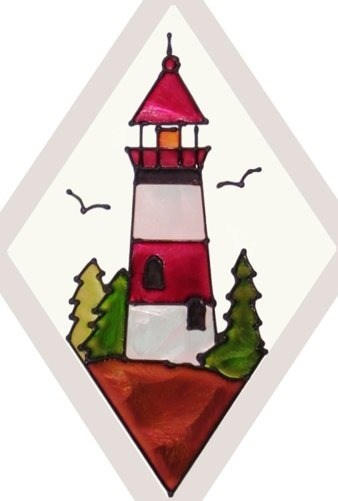 Artistic Gifts Art Glass F056 Generic Lighthouse Beveled Suncatcher