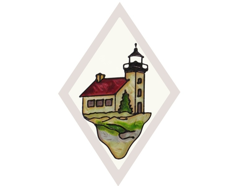 Artistic Gifts Art Glass F068 MI Copper Harbor Beveled Suncatcher
