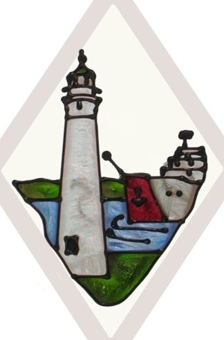 Artistic Gifts Art Glass F076 MI Marine City Beveled Suncatcher