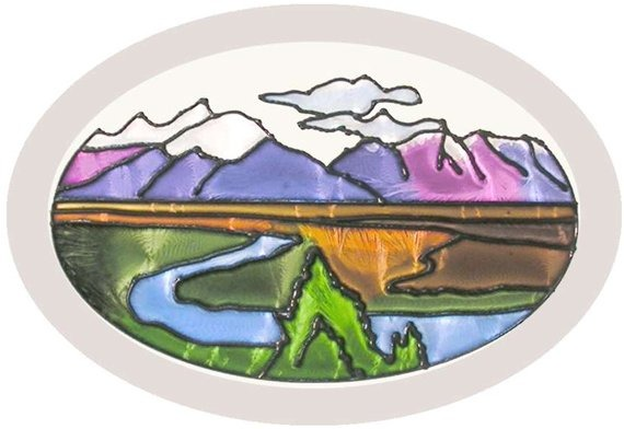 Artistic Gifts Art Glass O006 Mountain Valley Oval Beveled Glass