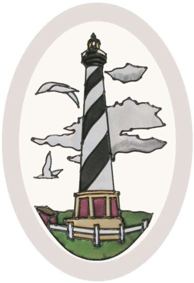 Artistic Gifts Art Glass O1013 Cape Hatteras NC Oval Beveled Glass