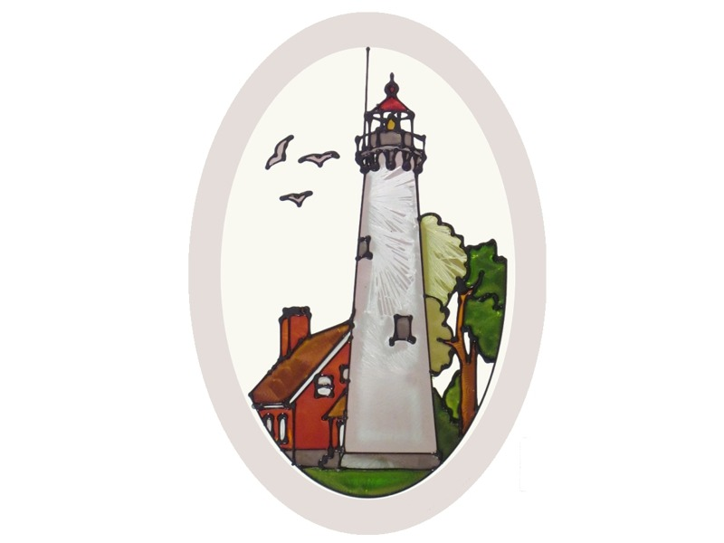 Artistic Gifts Art Glass O1034 MI Tawas Point Oval Beveled Glass