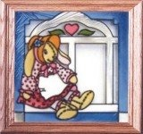 Artistic Gifts Art Glass Q005 Bunny & Mrs. Cottontail Panel