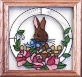 Artistic Gifts Art Glass Q011 Bunny in the Garden Panel