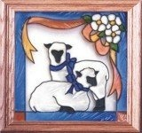 Artistic Gifts Art Glass Q012 Sheep Panel