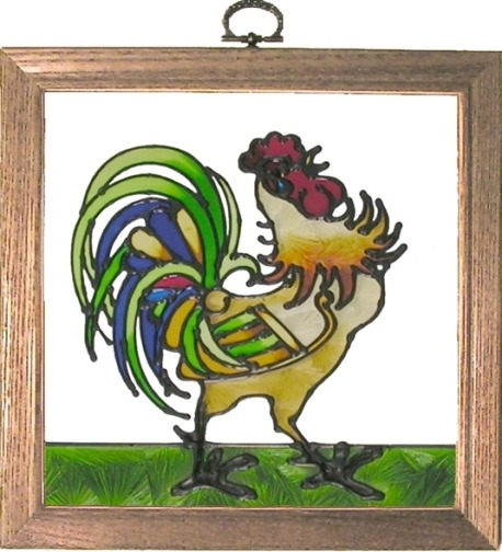 Artistic Gifts Art Glass S055 Irish Rooster Panel