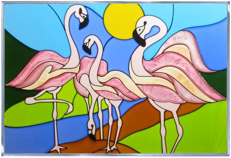 Silver Creek Art Glass V205 Bird Flamingo Panel