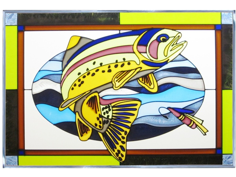 Artistic Gifts Art Glass V583 Fish Trout Panel