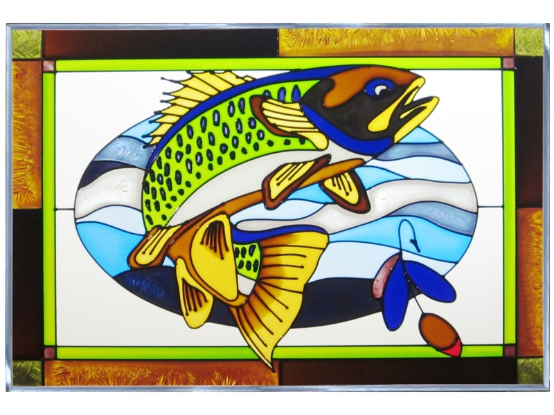 Artistic Gifts Art Glass V584 Fish Walleye Panel