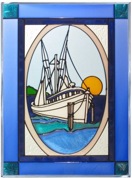 Artistic Gifts Art Glass W234 Fishing Boat Panel