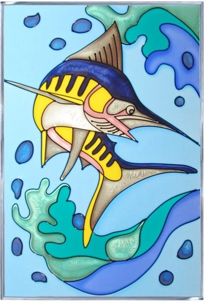 Artistic Gifts Art Glass W251 Marlin Panel