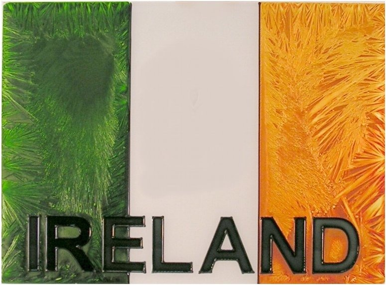 Artistic Gifts Art Glass W333 Irish Flag with Shamrock Horizontal Panel