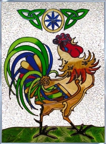Artistic Gifts Art Glass W341 Irish Rooster Panel