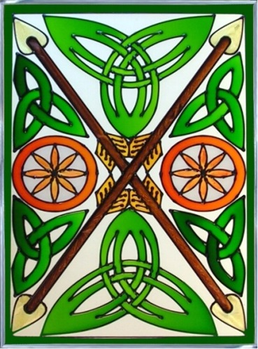 Artistic Gifts Art Glass W343 Celtic Warrior Arrow Panel