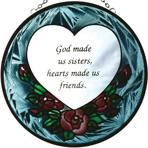Artistic Gifts Art Glass X020 Sisters - Friends Round Suncatcher