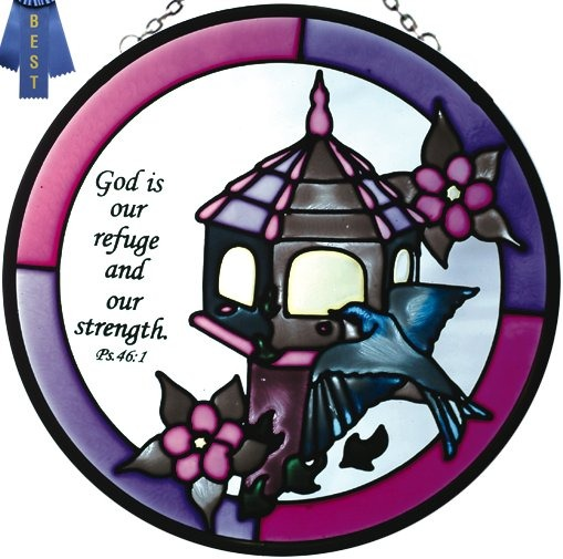 Artistic Gifts Art Glass X030 God Our Refuge Round Suncatcher