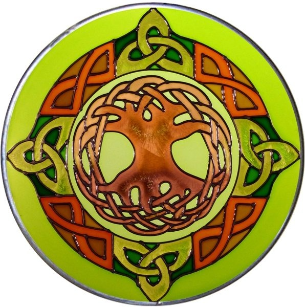 Artistic Gifts Art Glass Y001 Jen Delyth Celtic Irish Round Suncatcher