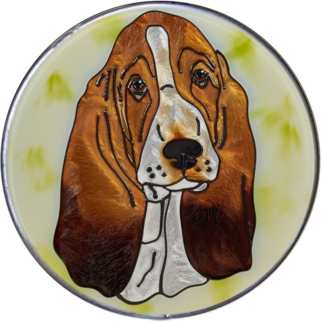Artistic Gifts Art Glass Y103 Basset Hound Jumbo Circle Suncatcher