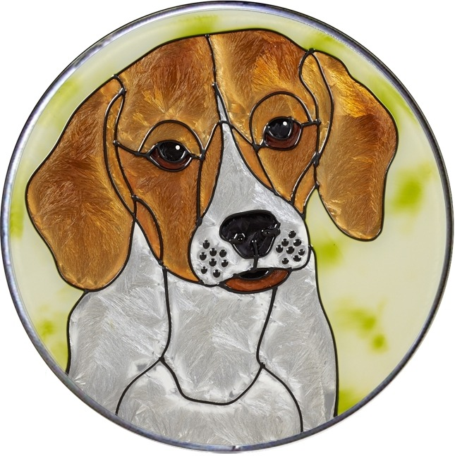Silver Creek Art Glass Y104 Beagle Jumbo Circle Suncatcher