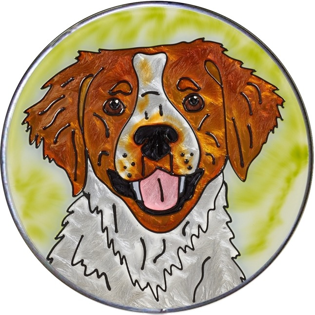 Artistic Gifts Art Glass Y112 Brittany Spaniel Jumbo Circle Suncatcher