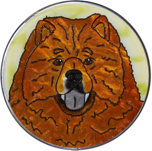 Artistic Gifts Art Glass Y118 Chow Chow Jumbo Circle Suncatcher Metal edge & Glass Made in the USA $59.99