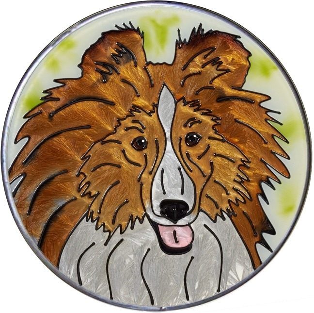 Artistic Gifts Art Glass Y120 Collie - Sheltie Jumbo Circle Suncatcher