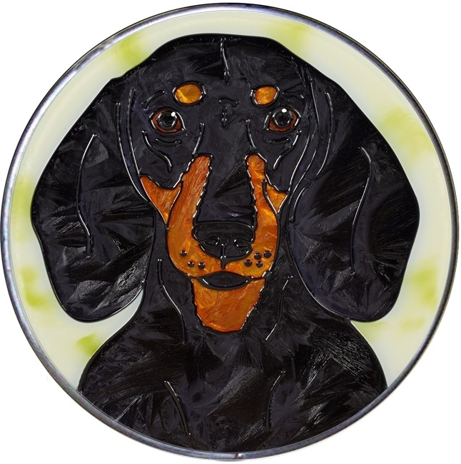 Artistic Gifts Art Glass Y122 Dachshund Black & Tan Jumbo Circle Suncatcher Metal edge & Glass Made in the USA $59.99