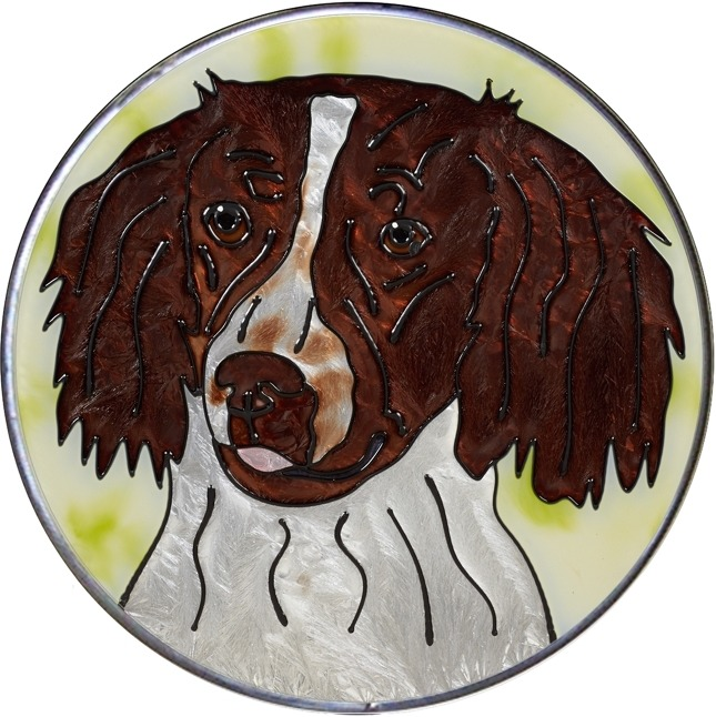 Artistic Gifts Art Glass Y126 English Springer Spaniel Jumbo Circle Suncatcher Metal edge & Glass Made in the USA $59.99