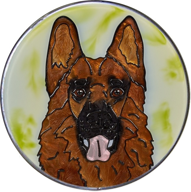 Artistic Gifts Art Glass Y129 German Shepherd Jumbo Circle Suncatcher Metal edge & Glass Made in the USA $59.99