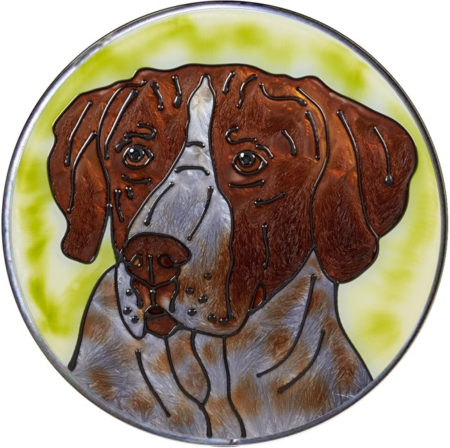 Artistic Gifts Art Glass Y132 German Shorthaired Pointer Jumbo Circle Suncatcher