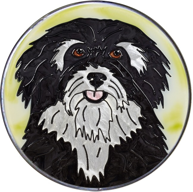 Artistic Gifts Art Glass Y136 Havanese Jumbo Circle Suncatcher Metal edge & Glass Made in the USA $59.99