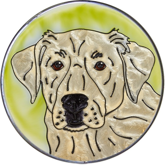 Artistic Gifts Art Glass Y142 Labrador Retriever Yellow - 2 Jumbo Circle Suncatcher