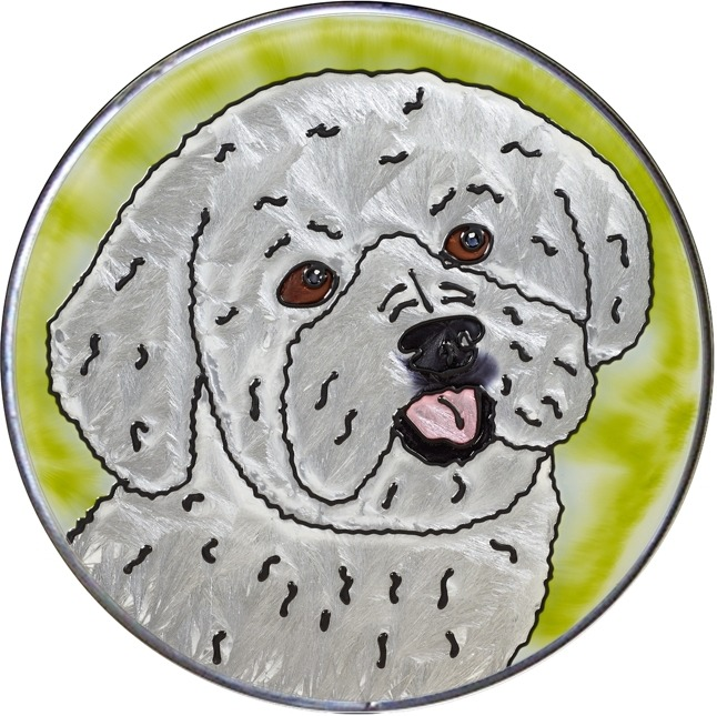 Artistic Gifts Art Glass Y148 Poodle Jumbo Circle Suncatcher Metal edge & Glass Made in the USA $59.99