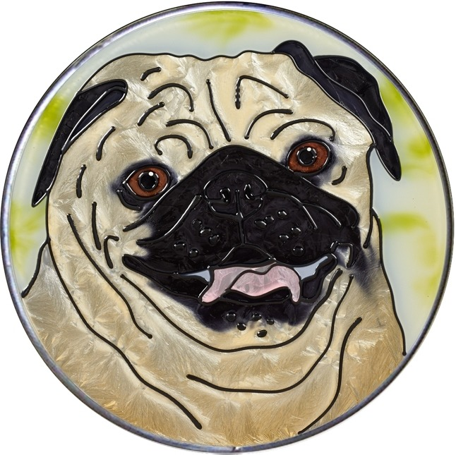 Artistic Gifts Art Glass Y149 Pug Fawn Jumbo Circle Suncatcher Metal edge & Glass Made in the USA $59.99