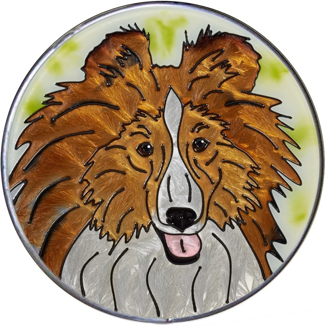 Artistic Gifts Art Glass Y152 Sheltie - Shetland Sheepdog Jumbo Circle Suncatcher