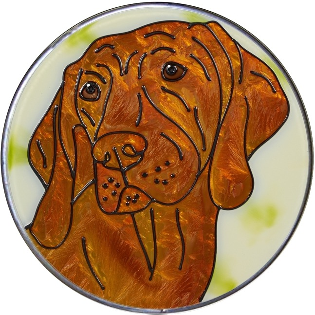 Artistic Gifts Art Glass Y156 Vizsla Jumbo Circle Suncatcher Metal edge & Glass Made in the USA $59.99
