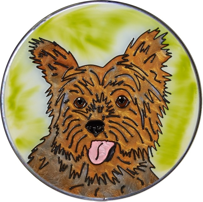 Artistic Gifts Art Glass Y159 Yorkie Yorkshire Terrier Jumbo Circle Suncatcher