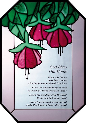 Artistic Gifts Art Glass Z151 God Bless Our Home Octagon