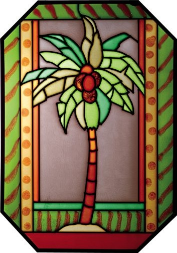 Artistic Gifts Art Glass Z154 Palm Tree Octagon