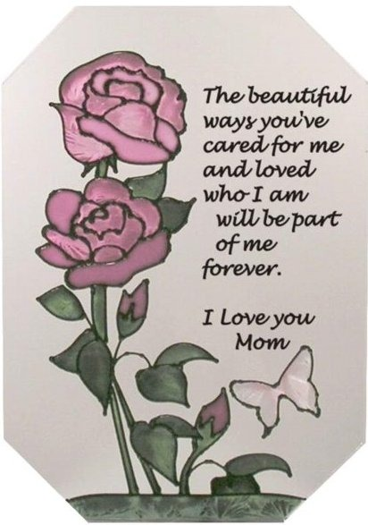 Silver Creek Art Glass Z276 I love you Mom Octagon