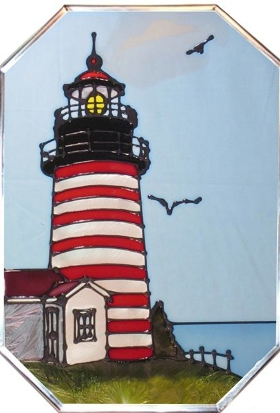 Artistic Gifts Art Glass Z306 ME West Quoddy Head Octagon