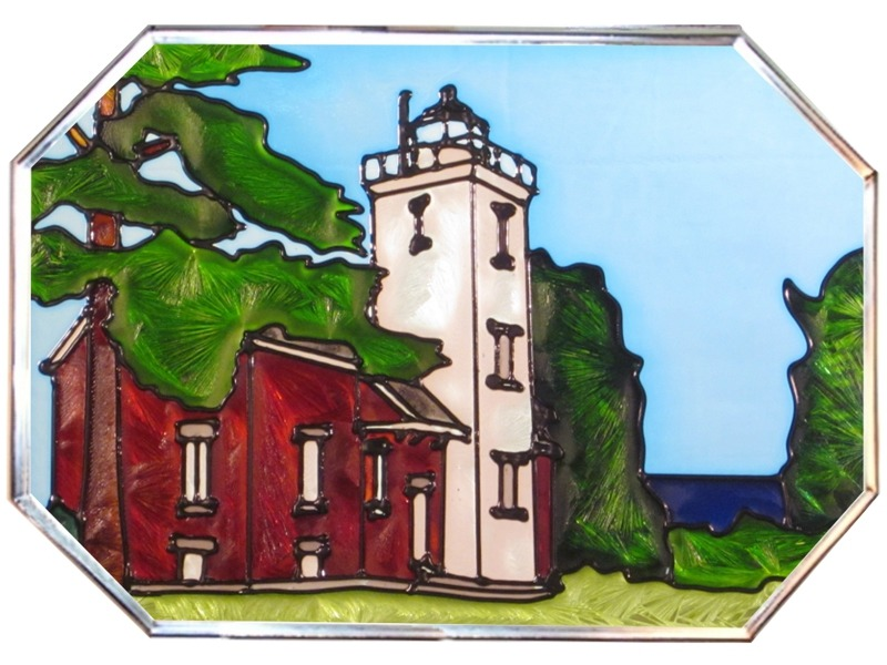 Artistic Gifts Art Glass Z316 MI Forty Mile Octagon
